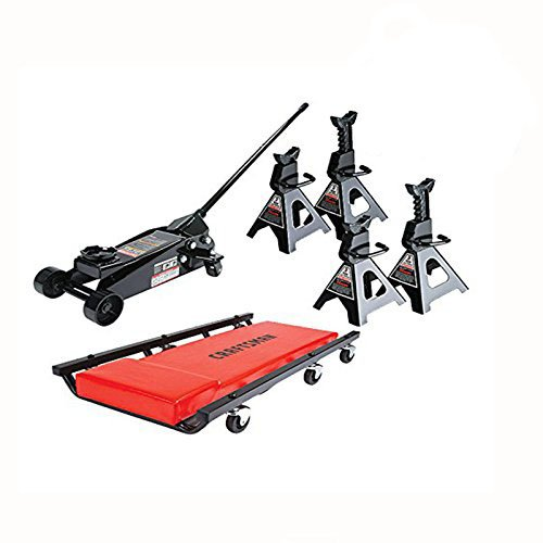 3 Ton Floor Jack Set Combo with 6 Ton Combined Jack Stands and Mechanic Creeper