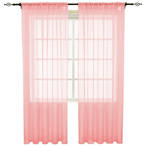 HOLKING Sheer Window Cutains for Bedroom-Rod Pocket Sheer Curtains 95 inch for Living Room, 2 Panels Pink Sheer Voile Curtains Each is 52 inch Width by 95 inch Length