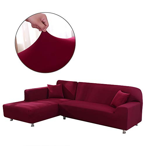 Cepheus L Shape Couch Covers, Anti-Slip Stain Resistant Sectional Slipcovers, Stretch Elastic Fabric L-Shaped Sofa Slipcover with 1pcs Free Pillow Covers (L-Shape Sofa Left 3+3 Seats, Red) (Shaped L Sofa Sectional Small)
