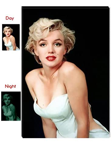 Startonight Wall Art Canvas Marilyn Monroe The Most Beautiful Woman the World, Women USA Design for Home Decor, Dual View Surprise Wall Art 23.62 X 35.43 Inch 100% Original Art (Marilyn Monroe Bedroom Theme)