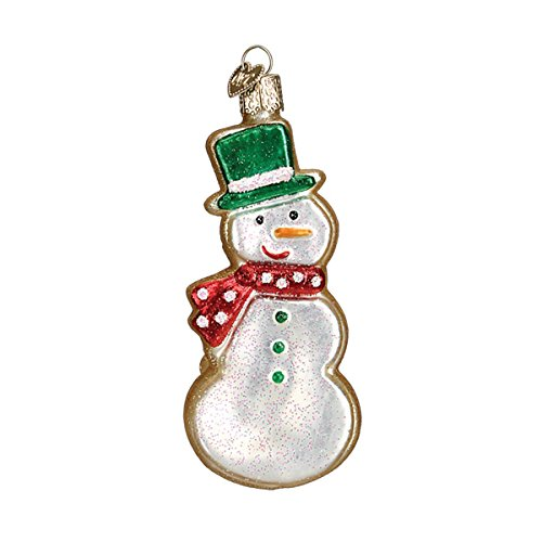 - Old World Christmas Glass Blown Ornament with S-Hook and Gift Box, Food Collection (Sugar Cookie [Snowman])