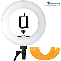 LimoStudio 14 inch Diameter LED Ring Light, 5600K Dimmable, Camera Mount Screw Nut Adapter, Tripod Mount Clip Cell Phone Holder, 2 Diffusers White Orange, Suitable for Facial Beauty Shoots, AGG2403