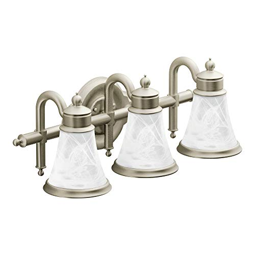 Moen YB9863BN Waterhill 3 Dual-Mount Bath Bathroom Vanity Light Fixture with Frosted Glass, 10.60 x 27.20 x 9.10 inches, Brushed Nickel