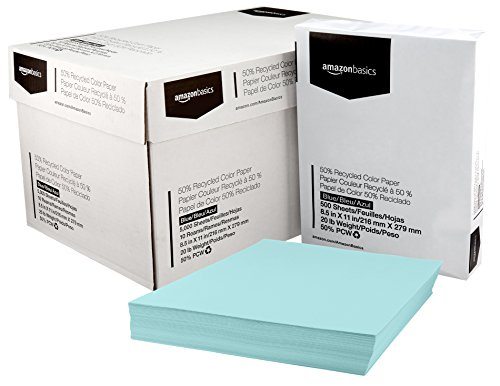 AmazonBasics 50% Recycled Color Paper - Blue, 8.5 x 11 Inches, 20 lbs, 10 Ream Case (5000 Sheets)