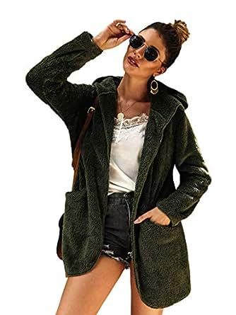 SheIn Women's Fauxs Fur Hooded Teddy Coat Long Sleeve Jacket Outwear Army Green Small