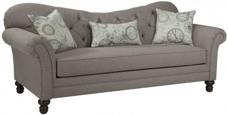 Coaster Carnahan Collection 505251 88″ Sofa with Tufted Reverse Camel Back Accent Pillows Removable Cushions and Linen-Like Fabric Upholstery in Stone Grey