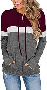 imrusan Women's Long Sleeve Crew Neck Quilted Patchwork Pullover Sweatshirt Tops, S