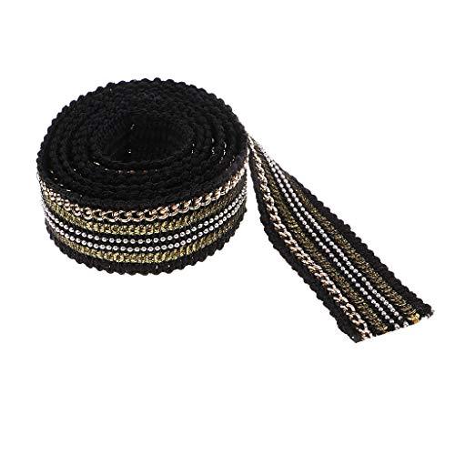 perfk DIY 装飾 1ヤード 2色選べ レース ファブリックリボン 刺繍アップリケ ビーズスパンコール 手作り - 黒の商品画像