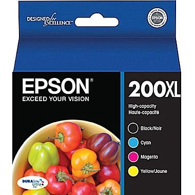Epson 200XL High Yield Black and Color C/M/Y Ink Cartridges (T200XL-XCS), Combo 4/Pack (In Retail (Black Ink Epson 200xl)
