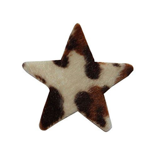ID 7291 Fuzzy Leopard Print Star Patch Fluffy Craft Embroidered Iron On ()