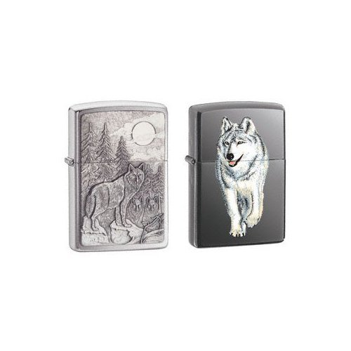 (Zippo Lighter Set - Timberwolves Pewter Emblem and Walking Wolf Black Ice, Pack of Two )