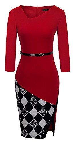 HOMEYEE - Vestido - Ajustado Cuadrados Cutaway - Sin mangas - para mujer B290 Rojo+Grid- 3/4 Sleeve