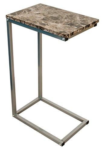 bonVIVO® Designer-Couchtisch GIANNI, Beistelltisch in moderner Marmor-Optik mit anthrazitfarbenen Stahlgestell