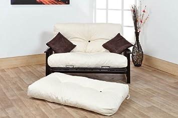 ashton 2 seater futon sofa bed  4ft small double size    wood  u0026 metal ashton 2 seater futon sofa bed  4ft small double size    wood      rh   amazon co uk