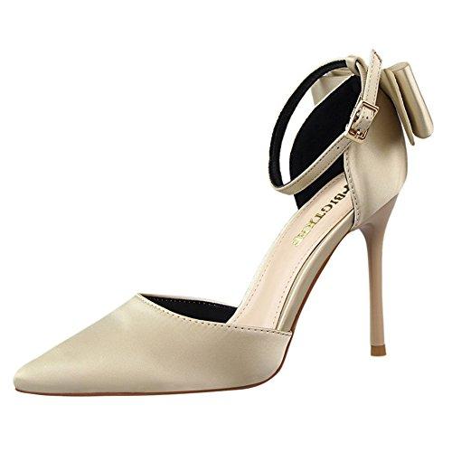 de de Zapatos Inconnu Satén Vestir Mujer dorado pxS1wUq