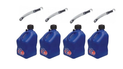 4 Pack VP 5 Gallon Square Blue Racing Utility Jugs with 4 Deluxe Filler - Oil Fuel 4
