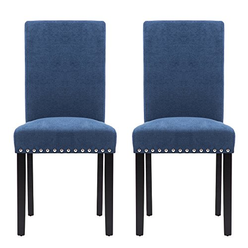 LSSPAID Upholstered Parsons Dining Chair with Polished Nailhead Wood Legs in Blue,Set of (Best Chair With Polished)