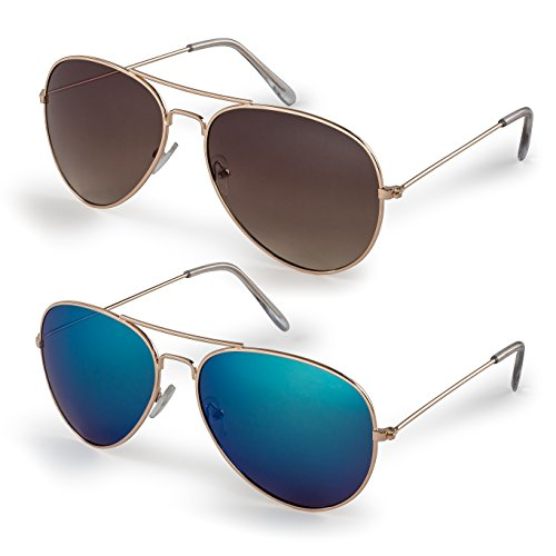 Stylle Classic Aviator Sunglasses with Protective Bag, 100% UV Protection Pack of 2 Gold Frame/Blue Lens + Gold Frame/Brown - For Men 2 Sunglasses