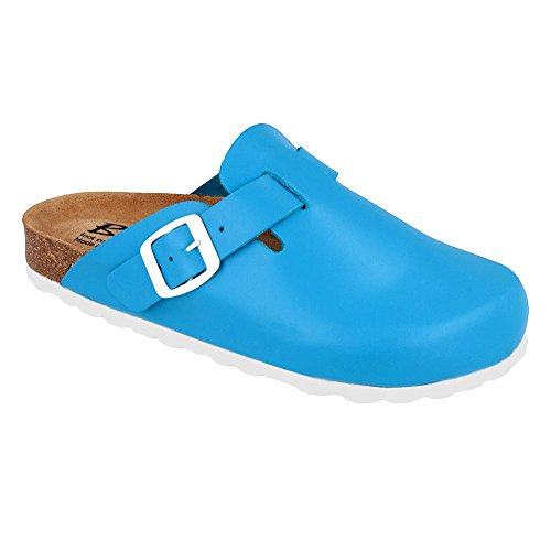 Biox Cork Sandals Leather Mules BERNEY Men Made in EU, Blue,9 ()