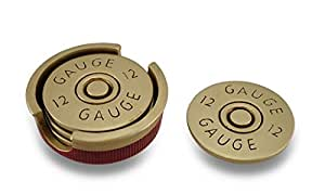 Four Piece 12 Gauge Shotgun Shell Coaster Set W/ Base