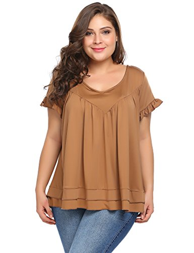 Vestyle Women's Plus Size Summer T Shirt Loose Fit Short Sleeve Tunic Tops