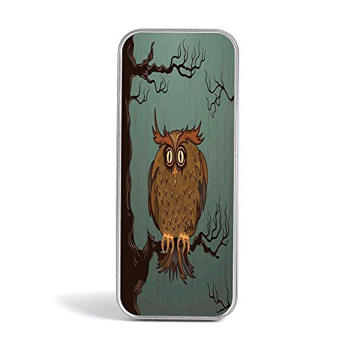 Tin Pencil Case,Owls Home Decor,Use As Pencil,Jewelry,Gift,Candy,Make up,Birthday or Gift Box,Exhausted Hangover Tired Owl in Oak Tree with Eyebrows Nature Cartoon Fun Artwork (Best Drug For Hangover)