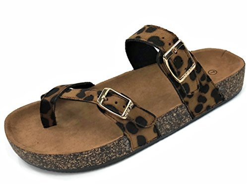 Womens Slip On Cross Toe Thong Cork Sole Slide Sandal with Buckle, Leopard, 8