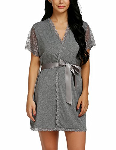 wearella Womens Short Robe Lace Trim Kimono Spa Knit Bathrobe Lightweight Loungewear Sleepwear Short by wearella