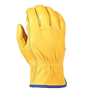 Wells Lamont Water Resistant Leather Work Gloves, Grain Cowhide, HydraHyde Technology, Large (1201L)