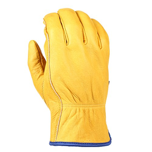 Grain Leather Gloves (Wells Lamont Water Resistant Leather Work Gloves, Grain Cowhide, HydraHyde Technology, Medium)