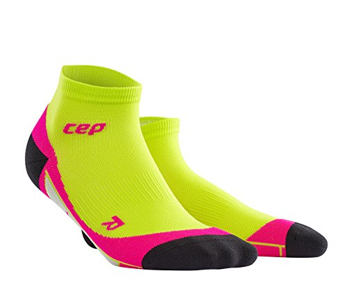 CEP Women's Dynamic+ Low Cut Socks with Compression and Light, Breathable Fit for Cross-Training, Running, Recovery, Tiathletes, and all Endurance and Team Sports, Lime/Pink, 2
