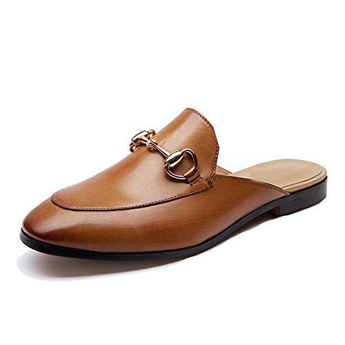 Mule Pointed Leather Shoes Honeystore Brown Women's Flats Slipper Toe xfgOw