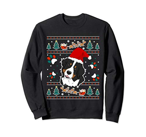 Merry Woofmas Bernese Mountain Dog Christmas Sweatshirt Gift (Sweatshirt Mountain Bernese Dog)