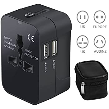 Universal Travel Adapter USB International Power Adapter with Surge Protector Portable USB Wall Charger Multi Port for iPhone 7 Samsung Android Phone US to Europe UK Italy Plug Adapter with AC Outlet