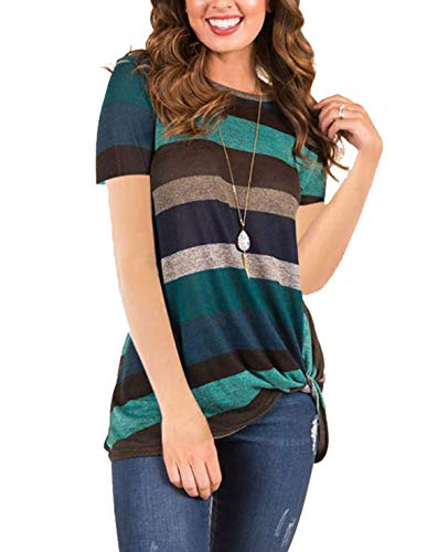 (AMCLOS Womens Tops Striped T-Shirts Front Knot Side Twist Tunic Casual Cold Shoulder Blouses Long/Short Sleeve (A-Green, L))