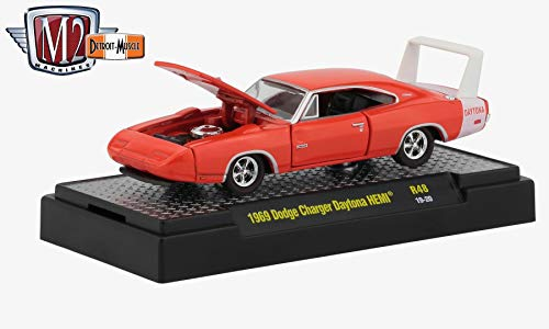 (M2 Machines 1969 Dodge Charger Daytona HEMI (Charger Red) - Detroit Muscle Release 48 Castline 2019 Premium Edition 1:64 Scale Die-Cast Vehicle & Custom Display Base (R48 19-20))