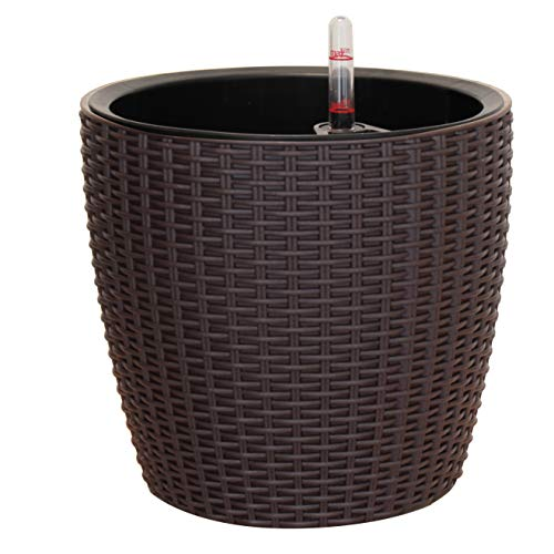 TABOR TOOLS Self-Watering Planter 11 Inch, Modern Decorative Pot for Outdoor or Indoor Garden, Elegant Plastic Wicker Rattan Look, Suitable for Plants & Flowers. TB505A. (11 Inch, Coffee Brown) (Self Wicker Planter Watering)