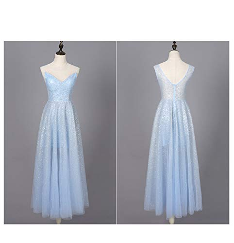 Sexy De Noche Y Lentejuelas Vestido Azul Falda Lentejuelas Cuello Color Con Sólido Larga V En Sbl nH7w14x1