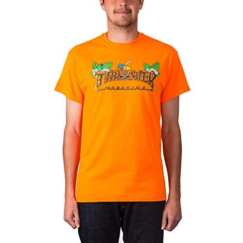 7c1d4c5c8a15 Thrasher Magazine Tiki Logo Men's Short Sleeve Skateboard T-Shirt - Safety  Orange - XL