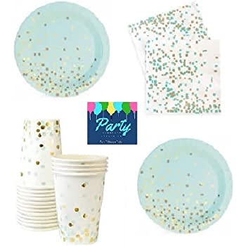 Mint and Gold Party Supplies - Elegant Party Supplies - Gold Foil St& Party Supplies For 12 Guests Including Dessert/Appetizer Plates Napkins u0026 Cups  sc 1 st  Amazon.com & Amazon.com: Mint and Gold Party Supplies - Elegant Foil Stamped ...