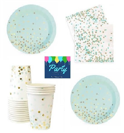 Mint and Gold Party Supplies - Elegant Party Supplies - Gold Foil Stamp Party Supplies For 12 Guests Including Dessert/Appetizer Plates, Napkins & Cups