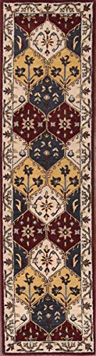 Rug Source New Agra All-Over Floral Hand-Tufted 2x10 Red Wool Oriental Runner Rug (9' 8
