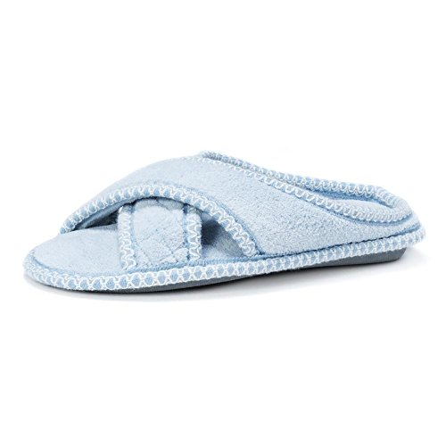 ADA Womens Chenille MUK LUKS Cross Slipper Light Blue Micro SRwwqPET