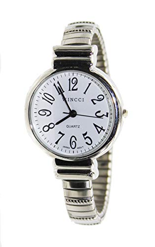 Women Silver Tone Stretch Band Easy to Read Watch Medium Size Watch ()
