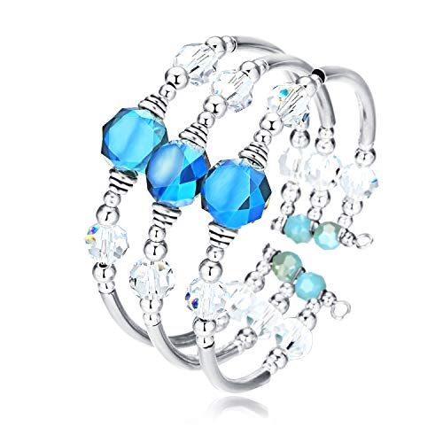 - Crystal Wrap Bangle Bracelets for Women - Fashion Boho Strand Bracelet Made with Swarovski Crystals, Bead Bracelets for Birthday, Mother's Day, Best Gifts for Women Girls