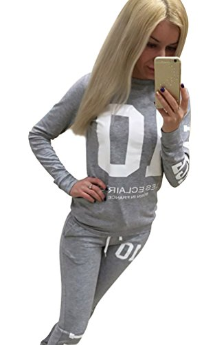 Baymate Damen Trainingsanzug Drucken Sweatshirt Rundhals Tops + Hose Sportanzug 2Pcs Grau S
