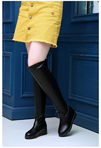 Top Over Lint Heel Elastic 1516 Low Womens Modern High Wedge Increase Leisure Dance Inner b Boot Black Knee Breathable Abby qIpwz7ROx