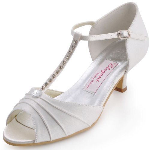 - ElegantPark EL-035 Women Peep Toe T-Strap Pumps Mid Heel Rhinestones Satin Wedding Bridal Sandals Ivory US 8