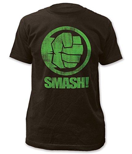 Marvel The Incredible Hulk Fist Smash! Adult Black T-Shirt (Small)