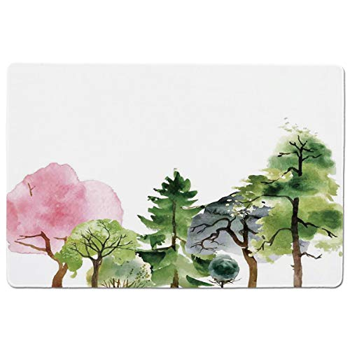 SCOCICI Gaming Speed Version Medium Cloth Mouse Mat Colorful Forest with Oak and Willow Growth Purity Nobility in Mother Earth Theme Mousepad for Home and Office Not Fad Locking Edge